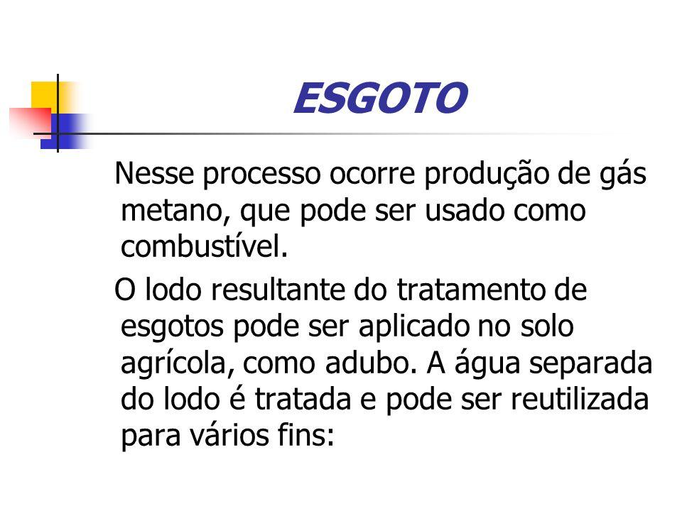 ESGOTO Nesse processo ocorre produção de gás metano, que pode ser usado como combustível.