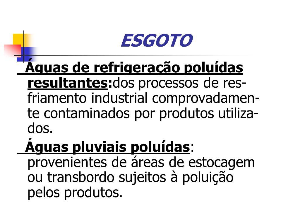 ESGOTO Águas de refrigeração poluídas resultantes:dos processos de res- friamento industrial comprovadamen-te contaminados por produtos utiliza- dos.