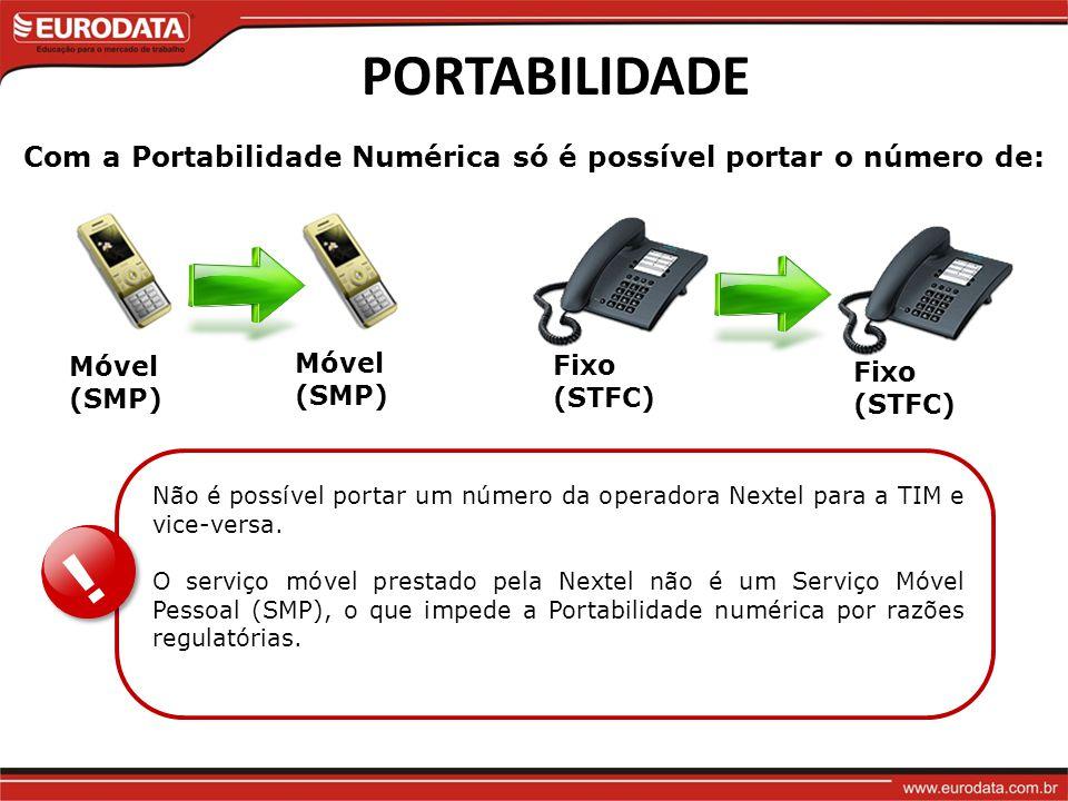 PORTABILIDADE Com a Portabilidade Numérica só é possível portar o número de: Fixo (STFC) Móvel (SMP)