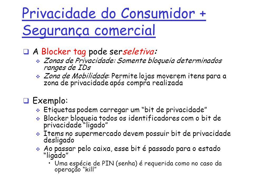 Privacidade do Consumidor + Segurança comercial