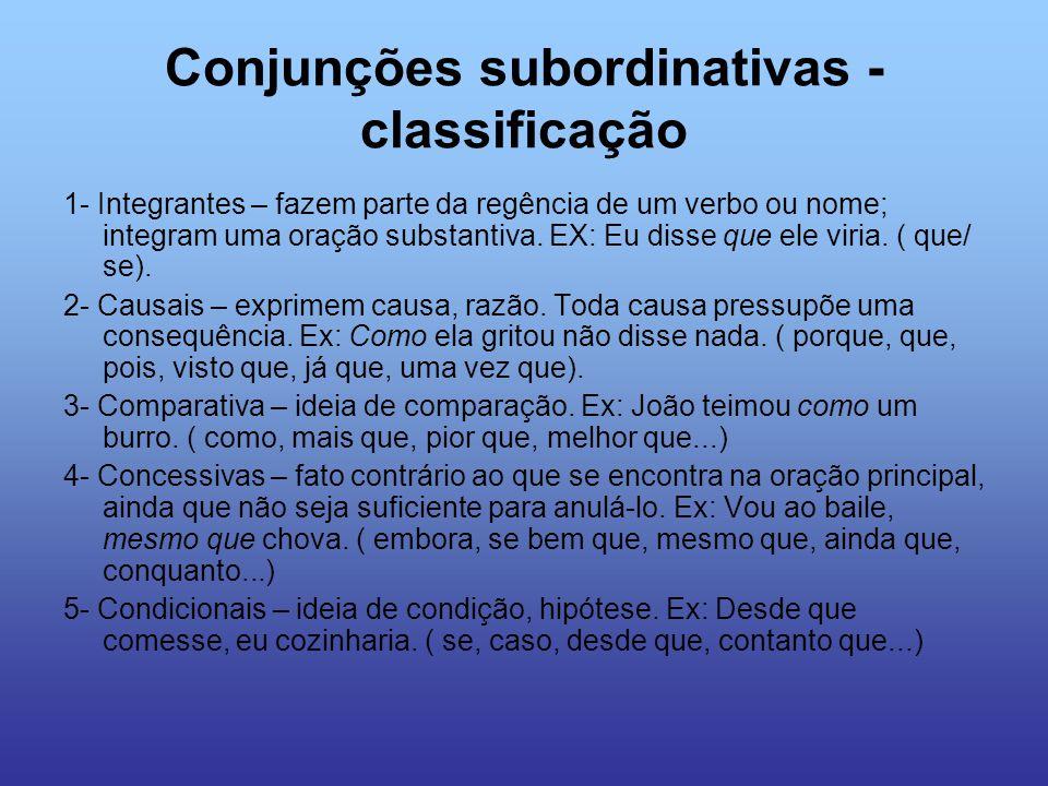 Conjunções subordinativas - classificação