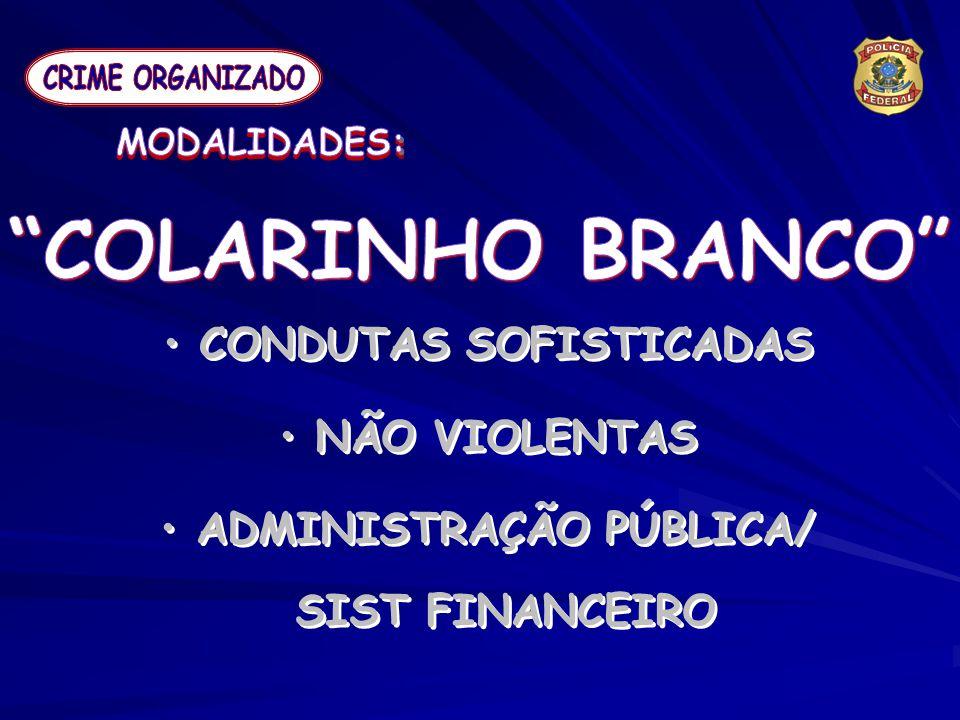 CONDUTAS SOFISTICADAS ADMINISTRAÇÃO PÚBLICA/ SIST FINANCEIRO