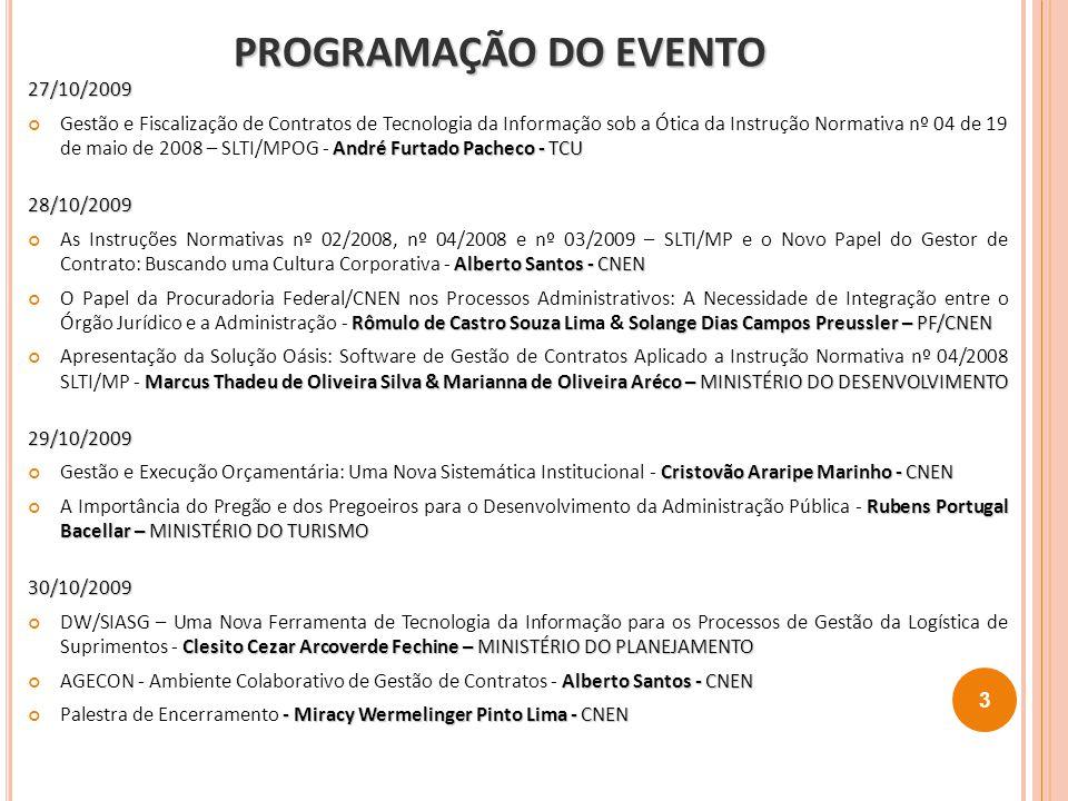 PROGRAMAÇÃO DO EVENTO 27/10/2009