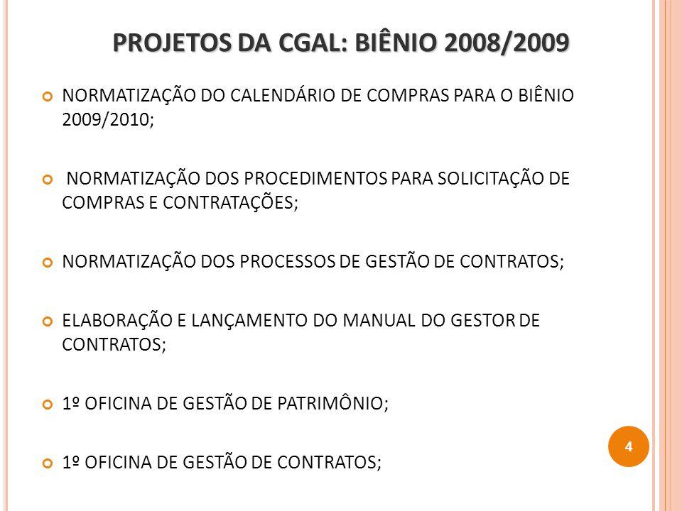 PROJETOS DA CGAL: BIÊNIO 2008/2009