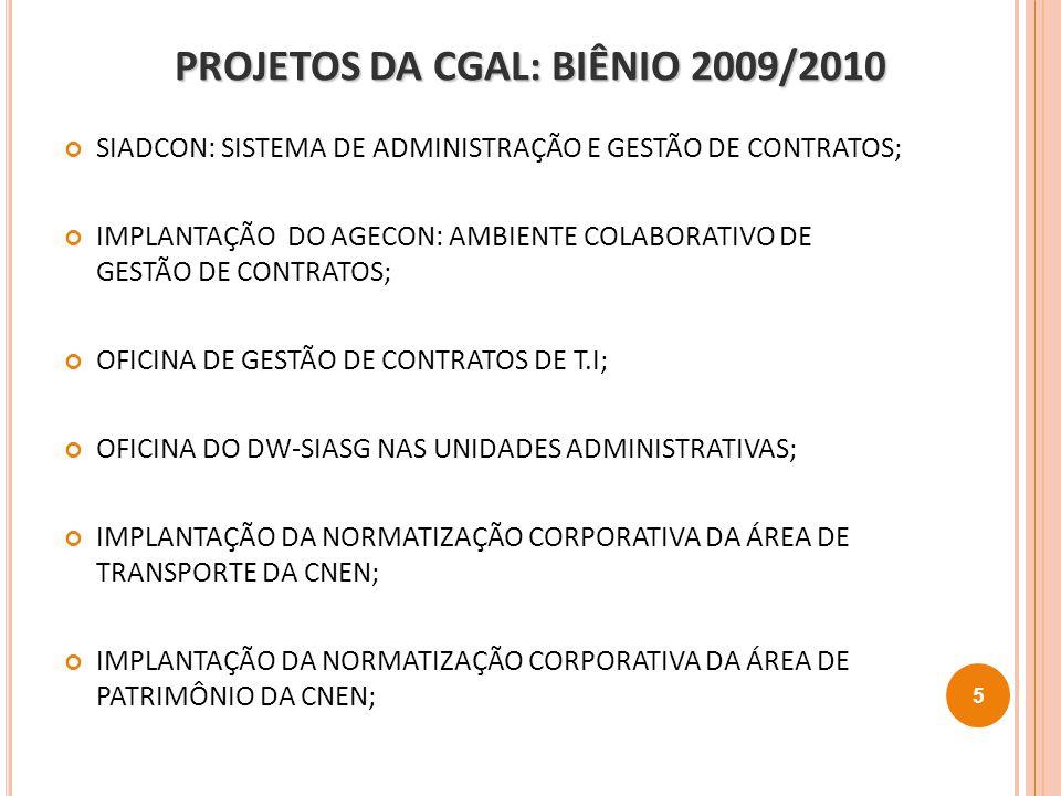 PROJETOS DA CGAL: BIÊNIO 2009/2010