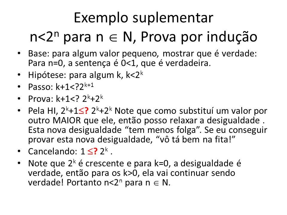 Exemplo suplementar n<2n para n  N, Prova por indução