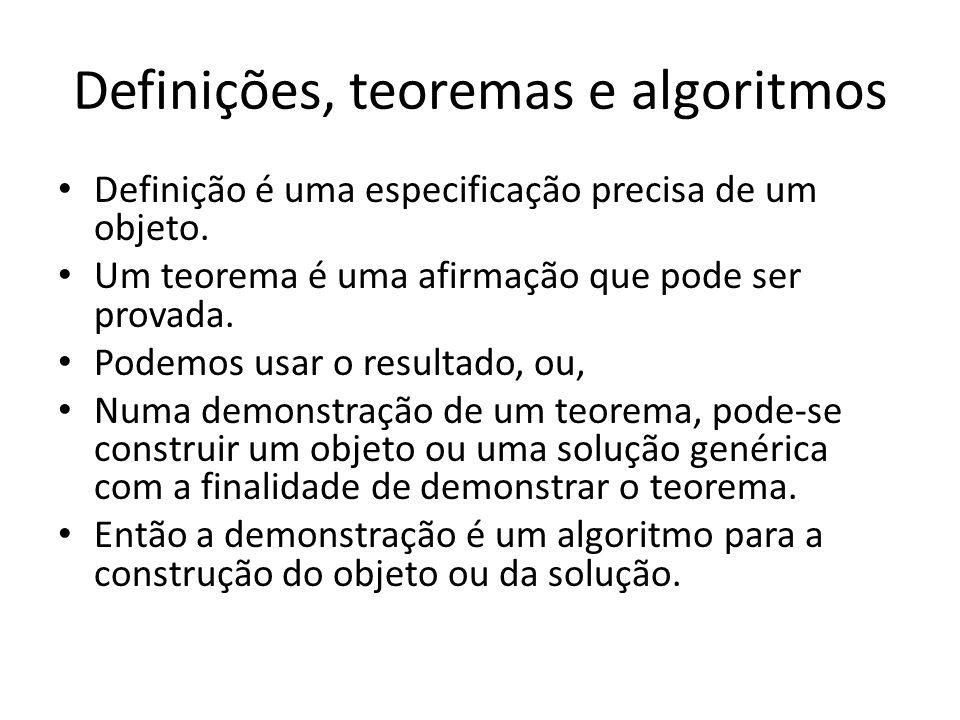Definições, teoremas e algoritmos