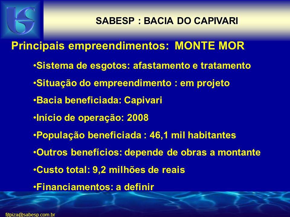 SABESP : BACIA DO CAPIVARI