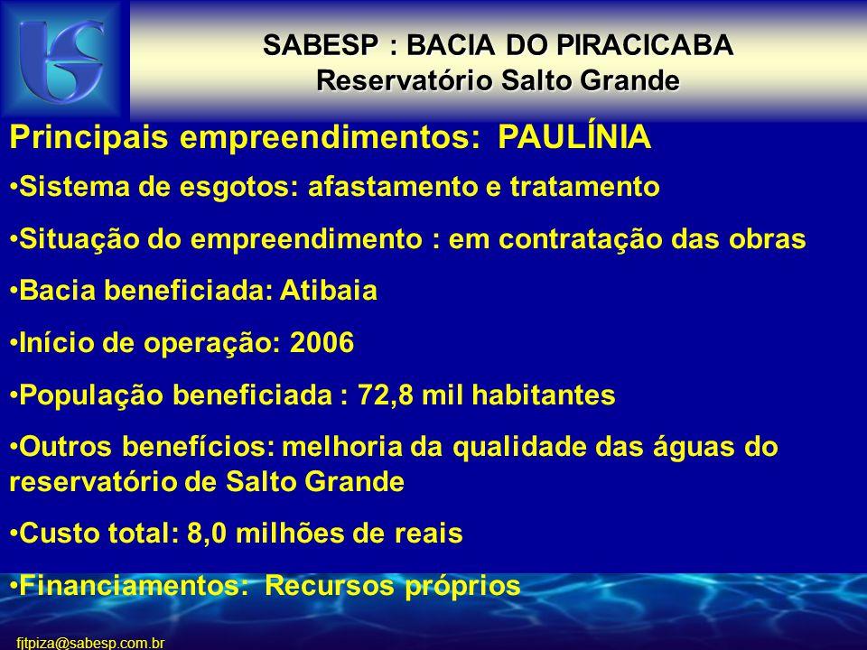 SABESP : BACIA DO PIRACICABA Reservatório Salto Grande
