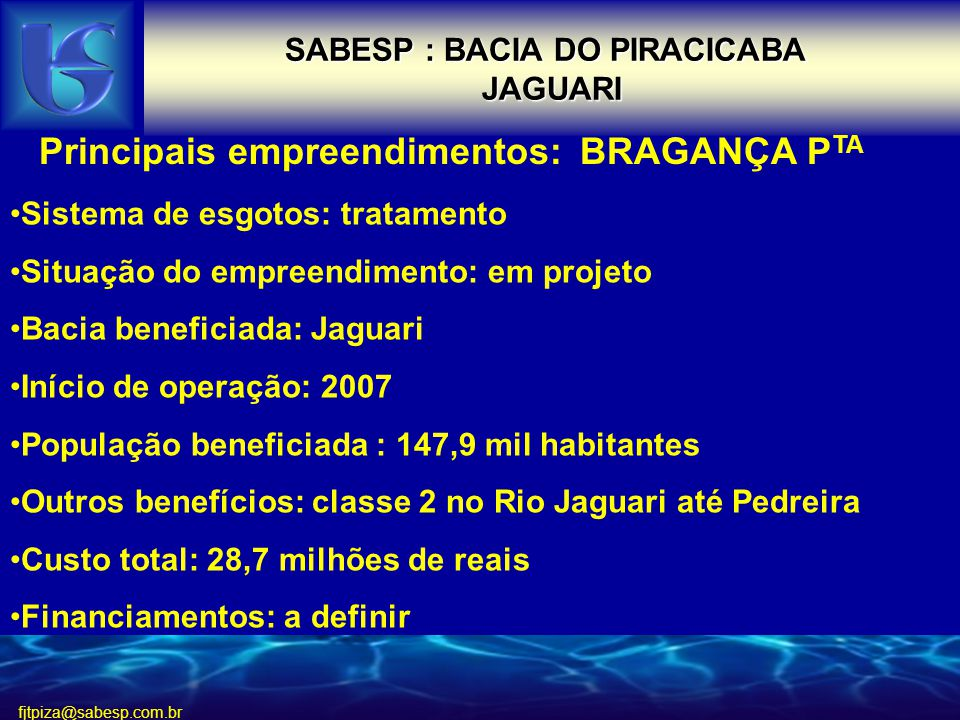 SABESP : BACIA DO PIRACICABA