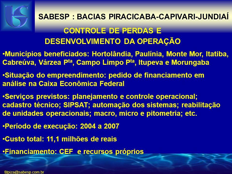 SABESP : BACIAS PIRACICABA-CAPIVARI-JUNDIAÍ
