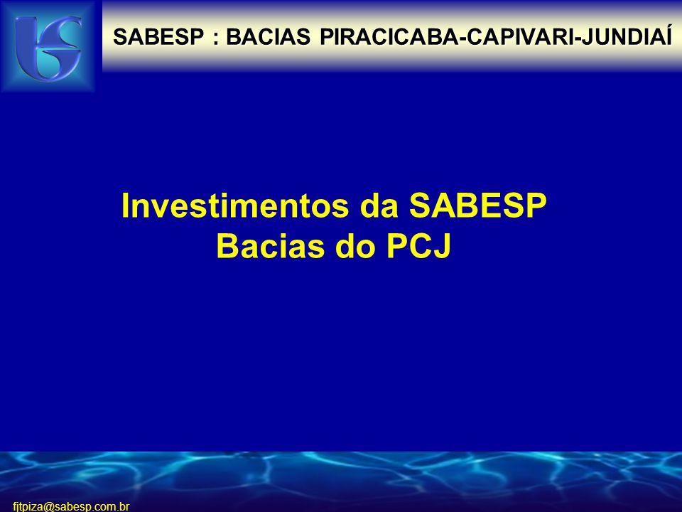 Investimentos da SABESP Bacias do PCJ