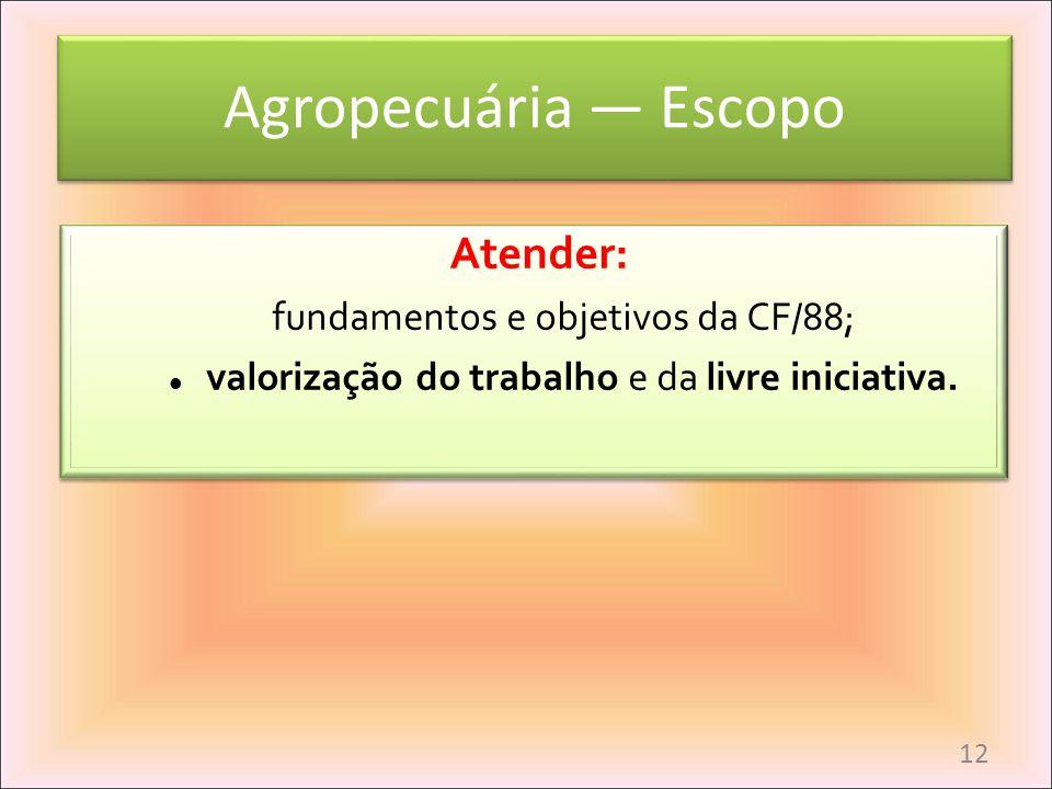 Agropecuária — Escopo Atender: fundamentos e objetivos da CF/88;