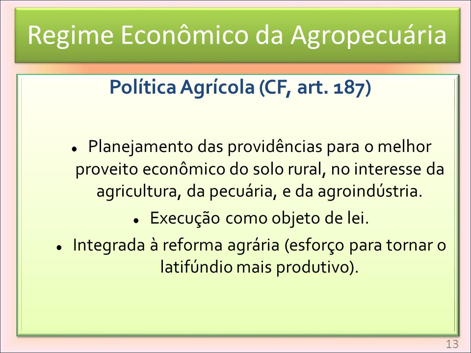 Regime Econômico da Agropecuária