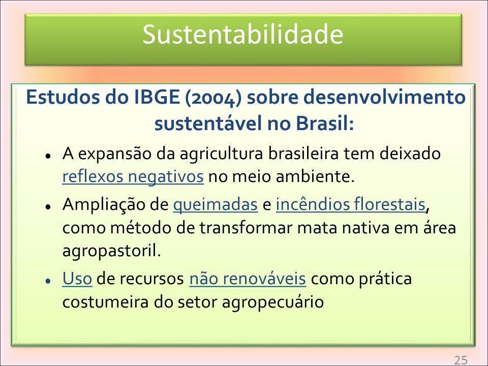 Estudos do IBGE (2004) sobre desenvolvimento sustentável no Brasil: