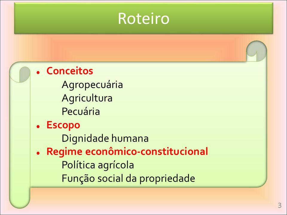 Roteiro Conceitos Agropecuária Agricultura Pecuária Escopo