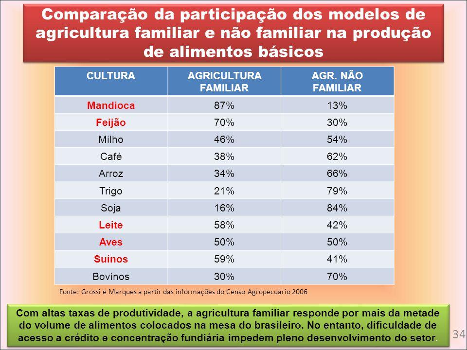 Comparação da participação dos modelos de agricultura familiar e não familiar na produção de alimentos básicos