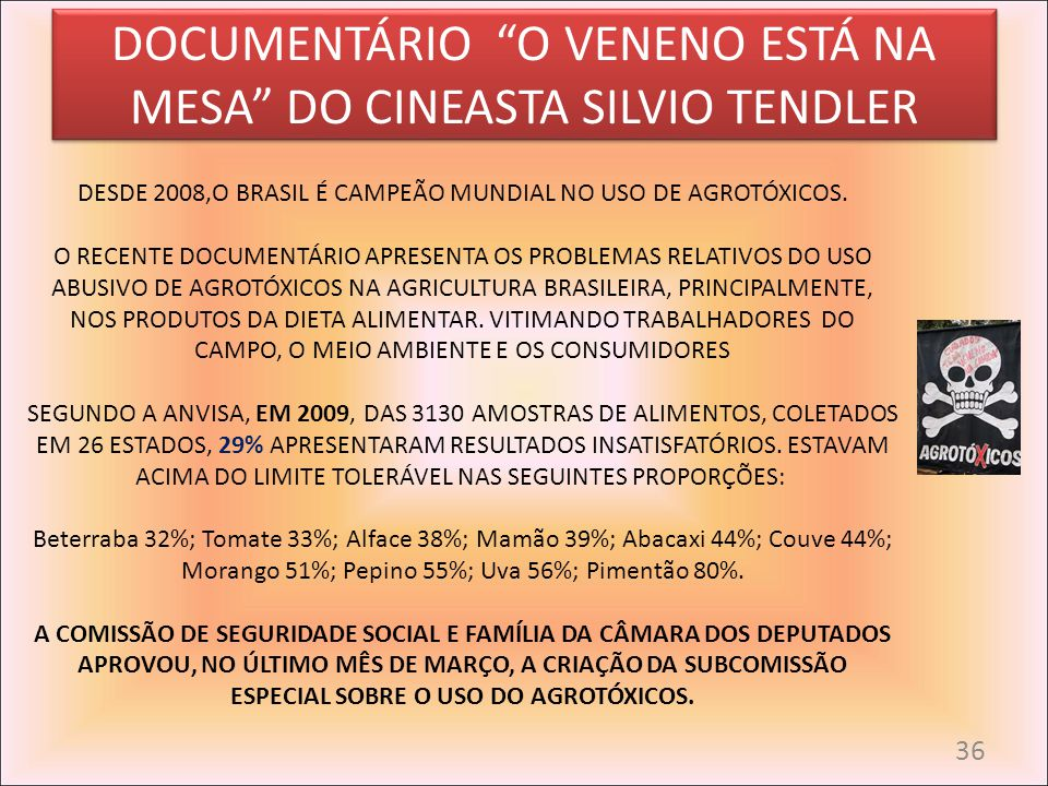 DOCUMENTÁRIO O VENENO ESTÁ NA MESA DO CINEASTA SILVIO TENDLER