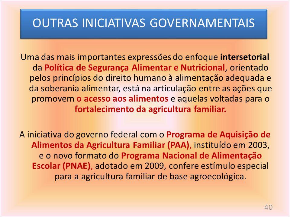 OUTRAS INICIATIVAS GOVERNAMENTAIS