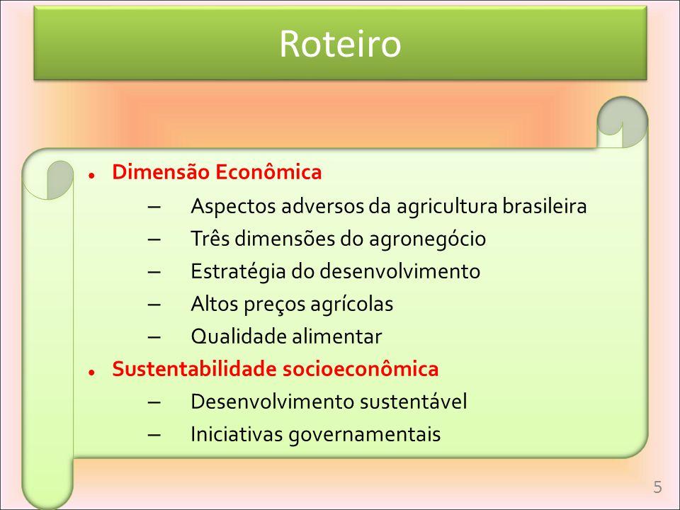 Roteiro Dimensão Econômica Aspectos adversos da agricultura brasileira