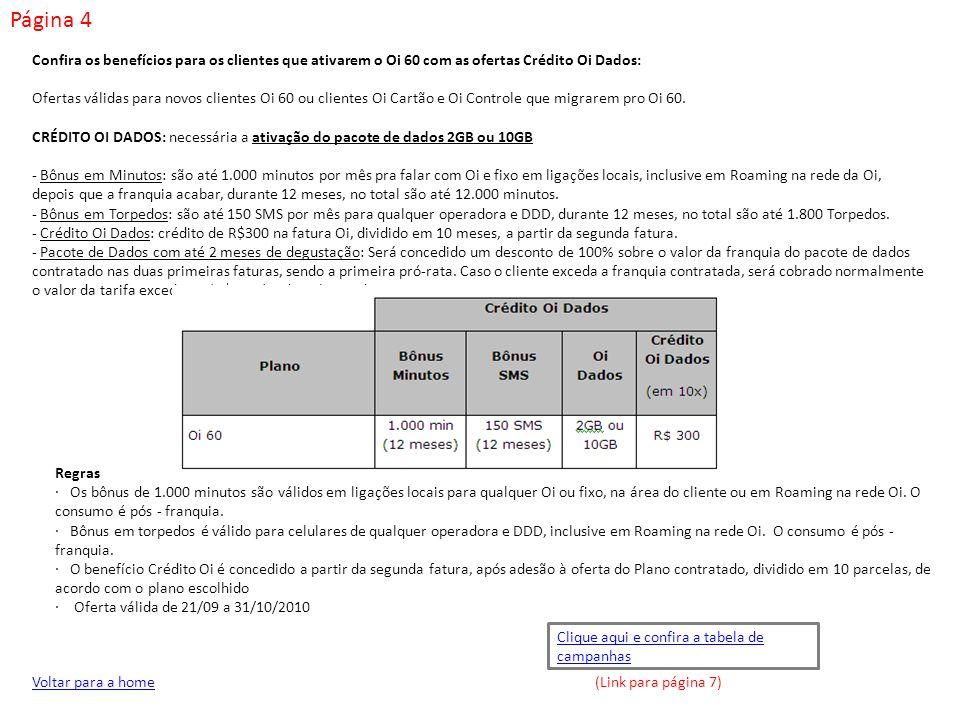 Página 4 Confira os benefícios para os clientes que ativarem o Oi 60 com as ofertas Crédito Oi Dados: