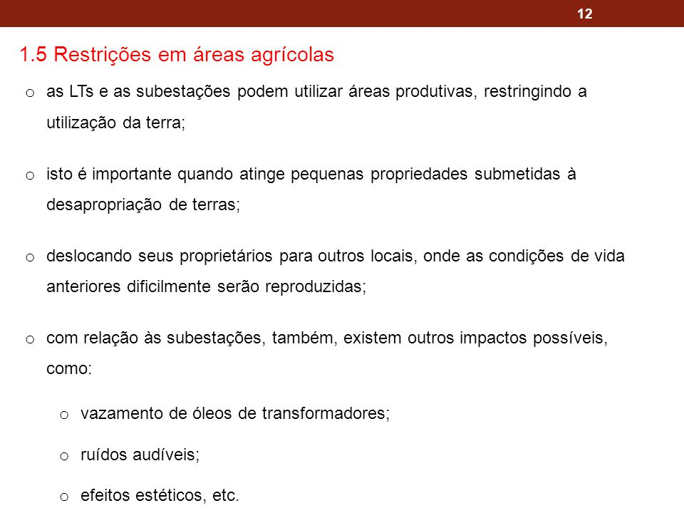 1.5 Restrições em áreas agrícolas