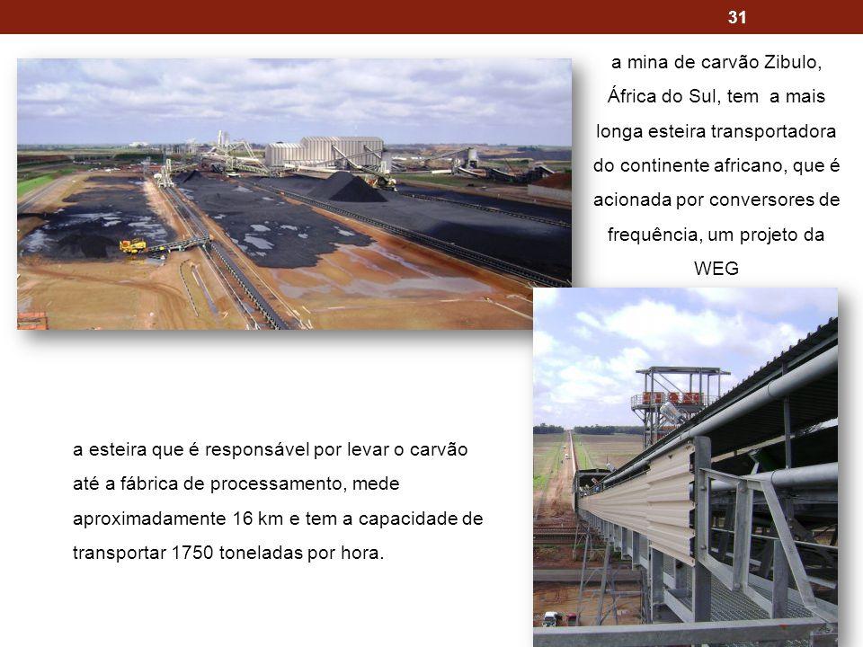 a mina de carvão Zibulo, África do Sul, tem a mais longa esteira transportadora do continente africano, que é acionada por conversores de frequência, um projeto da WEG