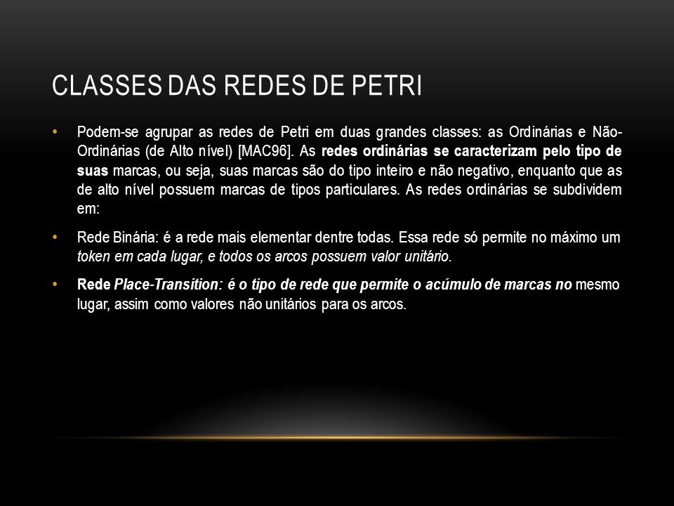 Classes das Redes de Petri