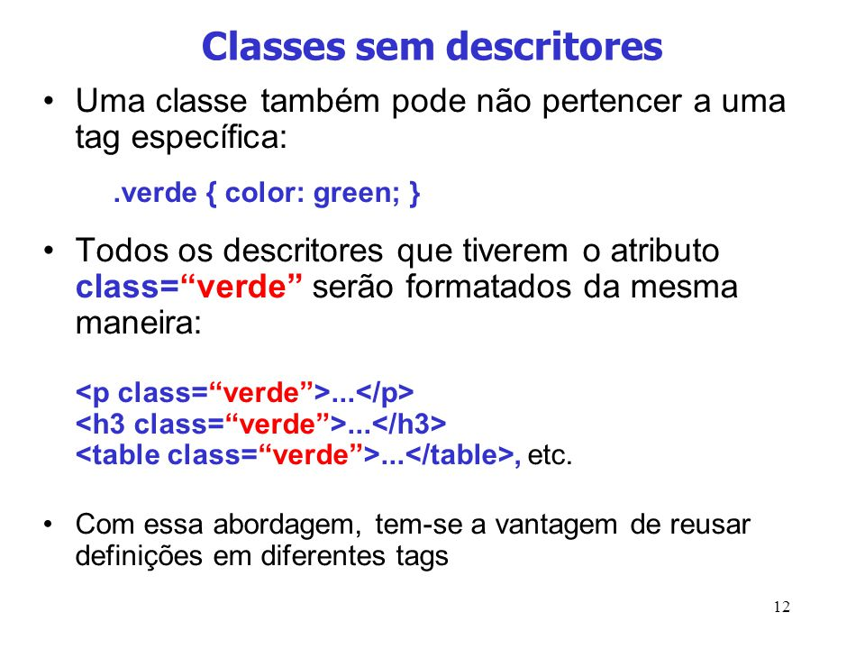 Classes sem descritores