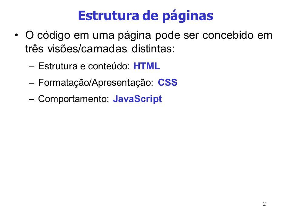 Estrutura de páginas O código em uma página pode ser concebido em três visões/camadas distintas: Estrutura e conteúdo: HTML.
