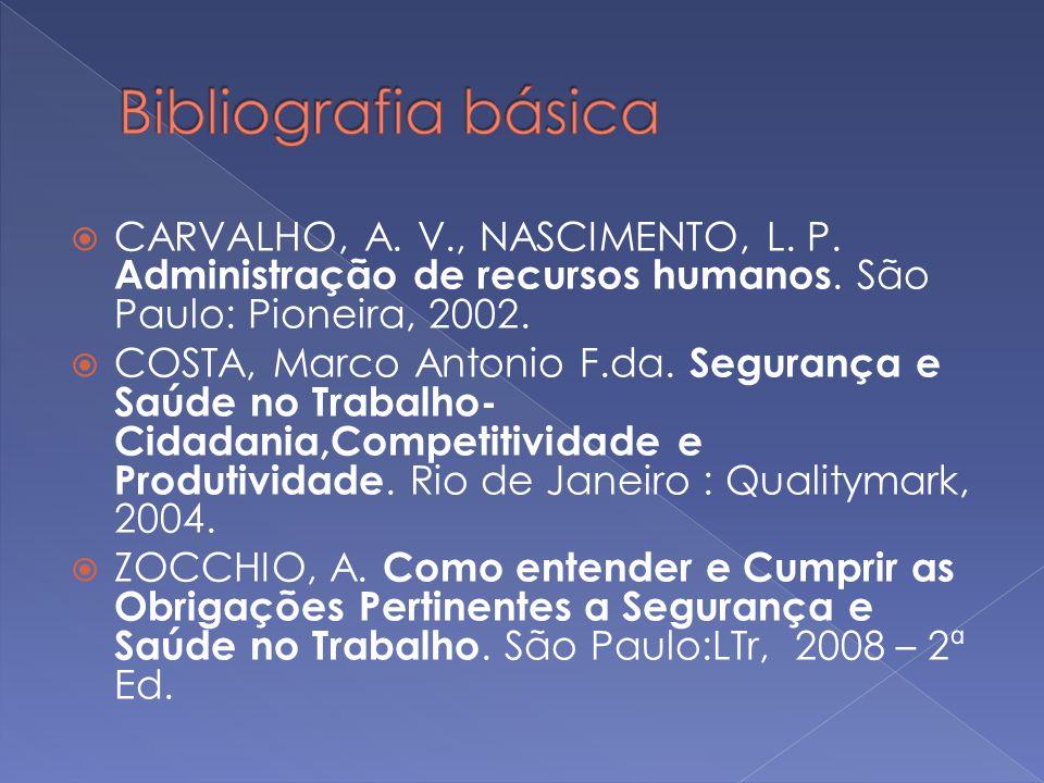 Bibliografia básica CARVALHO, A. V., NASCIMENTO, L. P. Administração de recursos humanos. São Paulo: Pioneira, 2002.