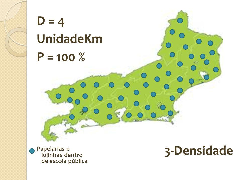 D = 4 UnidadeKm P = 100 % 3-Densidade