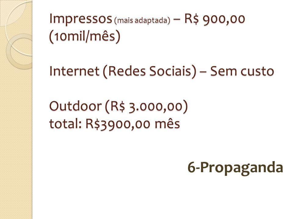 Impressos (mais adaptada) – R$ 900,00 (10mil/mês) Internet (Redes Sociais) – Sem custo Outdoor (R$ 3.000,00) total: R$3900,00 mês
