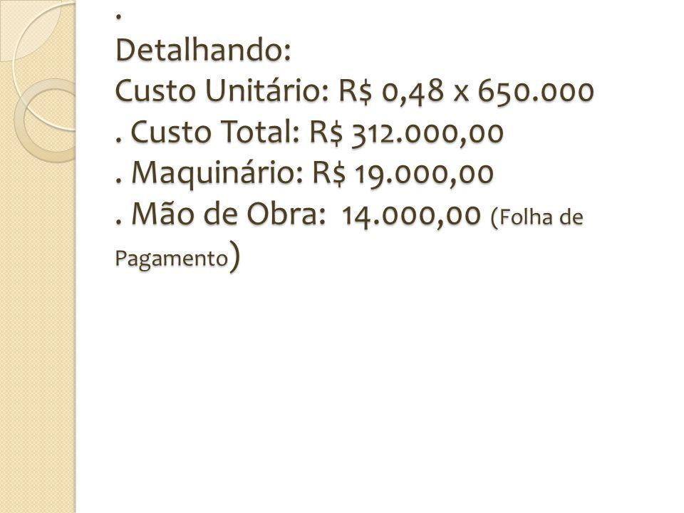 Detalhando: Custo Unitário: R$ 0,48 x 650. 000. Custo Total: R$ 312