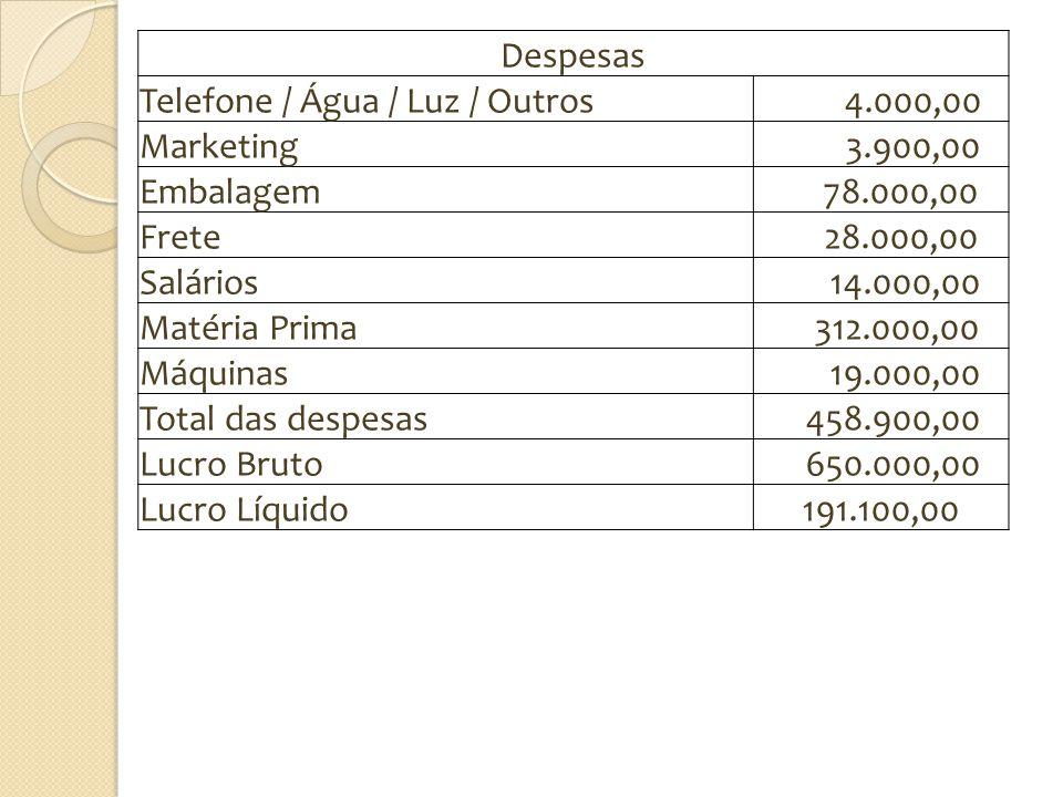 Despesas Telefone / Água / Luz / Outros. 4.000,00. Marketing. 3.900,00. Embalagem. 78.000,00. Frete.