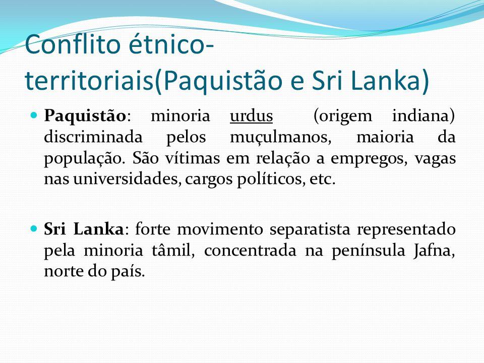 Conflito étnico-territoriais(Paquistão e Sri Lanka)