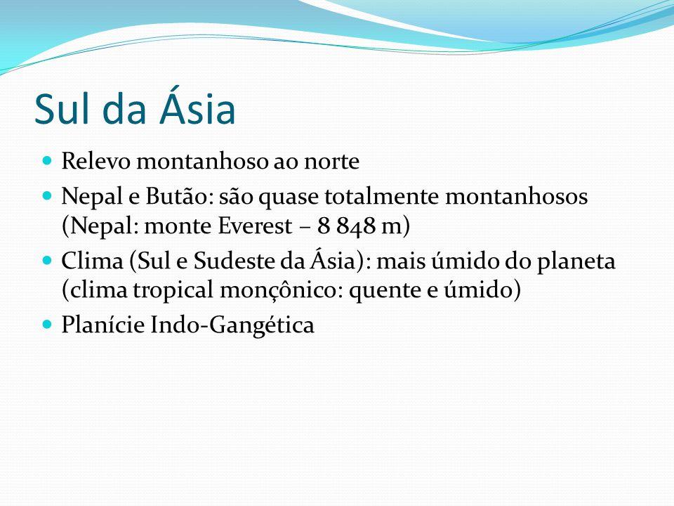 Sul da Ásia Relevo montanhoso ao norte