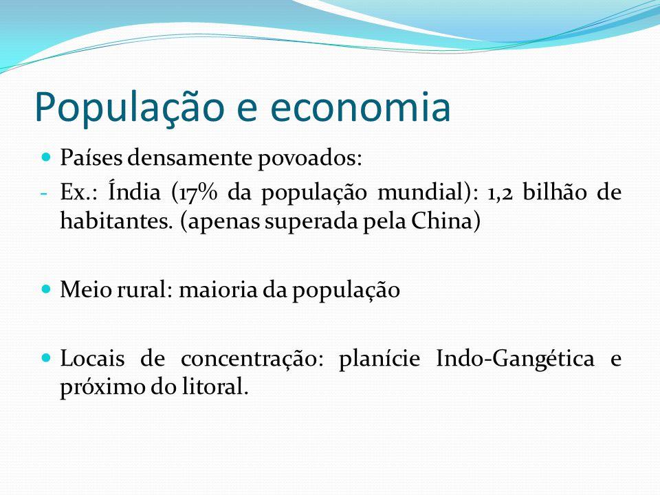 População e economia Países densamente povoados: