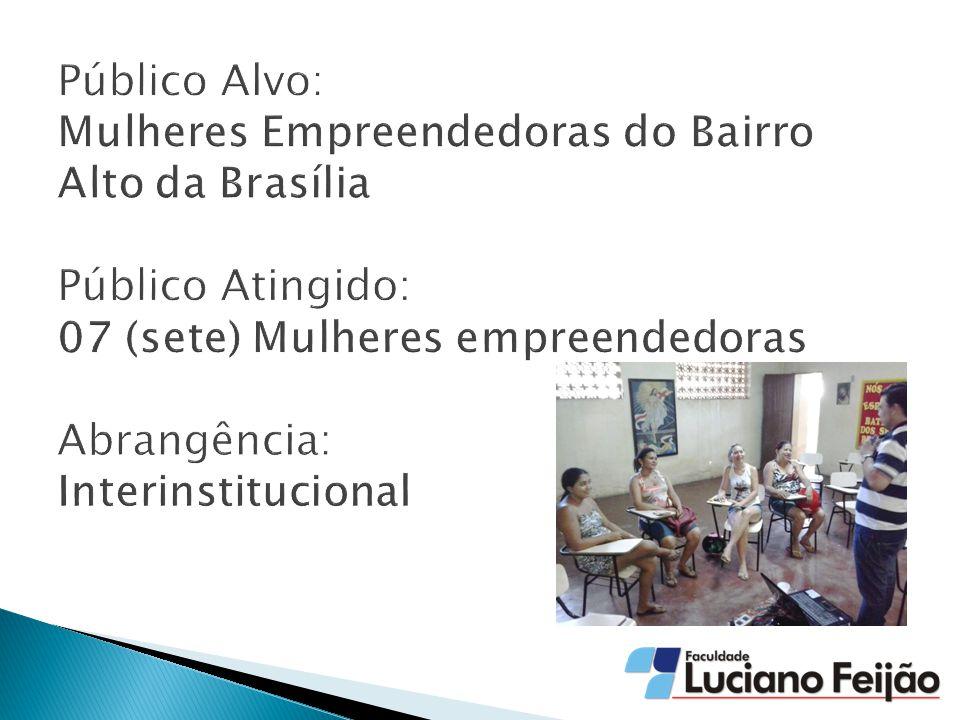 Público Alvo: Mulheres Empreendedoras do Bairro Alto da Brasília Público Atingido: 07 (sete) Mulheres empreendedoras Abrangência: Interinstitucional