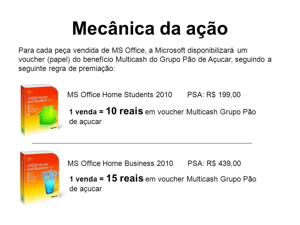 Mecânica da ação Para cada peça vendida de MS Office, a Microsoft disponibilizará um.