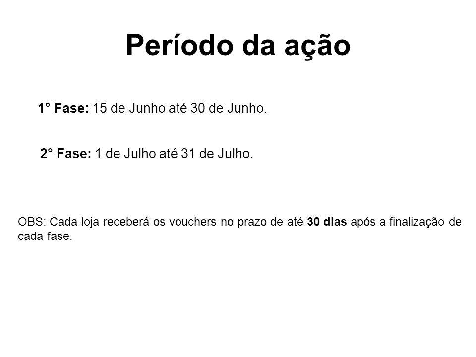 Período da ação 1° Fase: 15 de Junho até 30 de Junho.