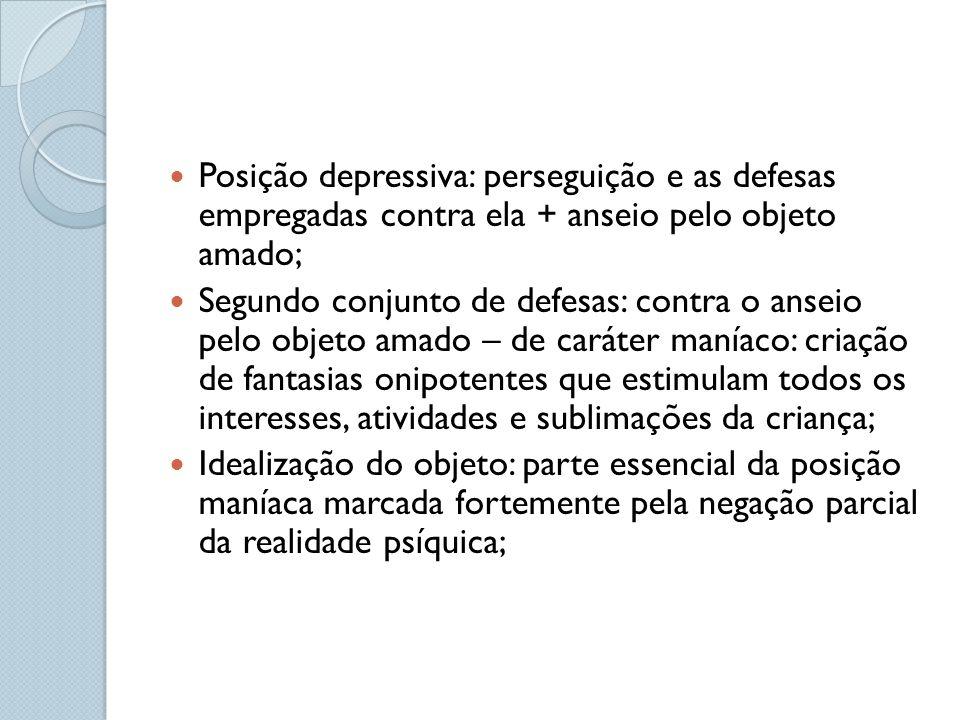 Posição depressiva: perseguição e as defesas empregadas contra ela + anseio pelo objeto amado;