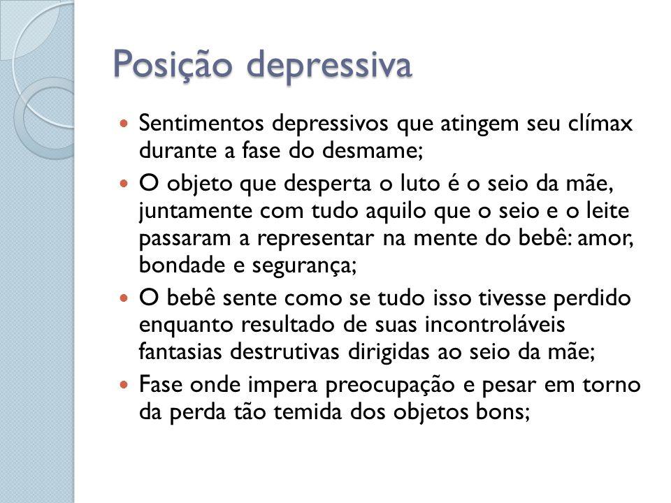 Posição depressiva Sentimentos depressivos que atingem seu clímax durante a fase do desmame;