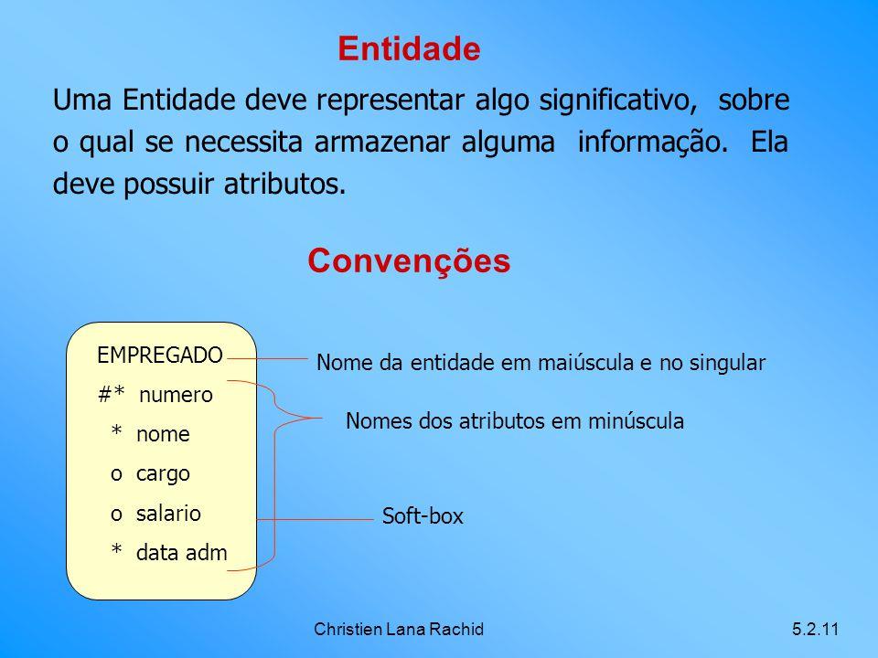 Entidade Uma Entidade deve representar algo significativo, sobre o qual se necessita armazenar alguma informação. Ela deve possuir atributos.