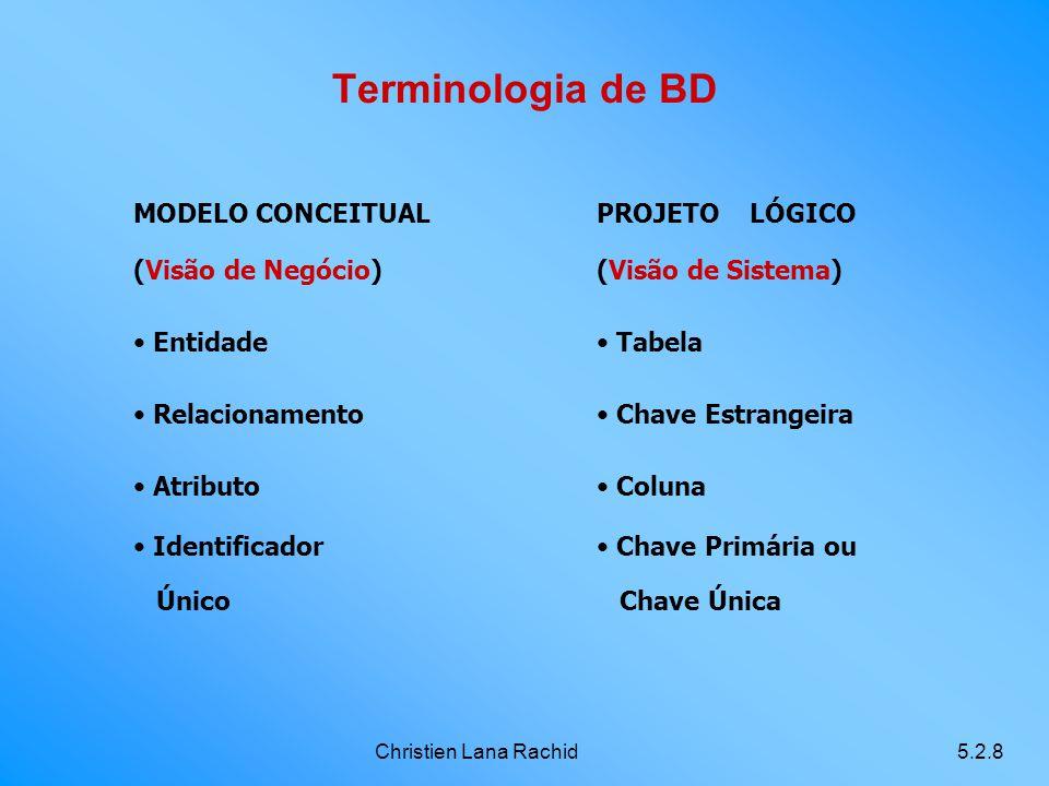 Terminologia de BD MODELO CONCEITUAL (Visão de Negócio) Entidade
