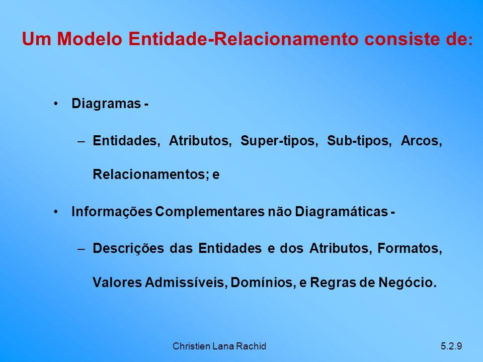 Um Modelo Entidade-Relacionamento consiste de: