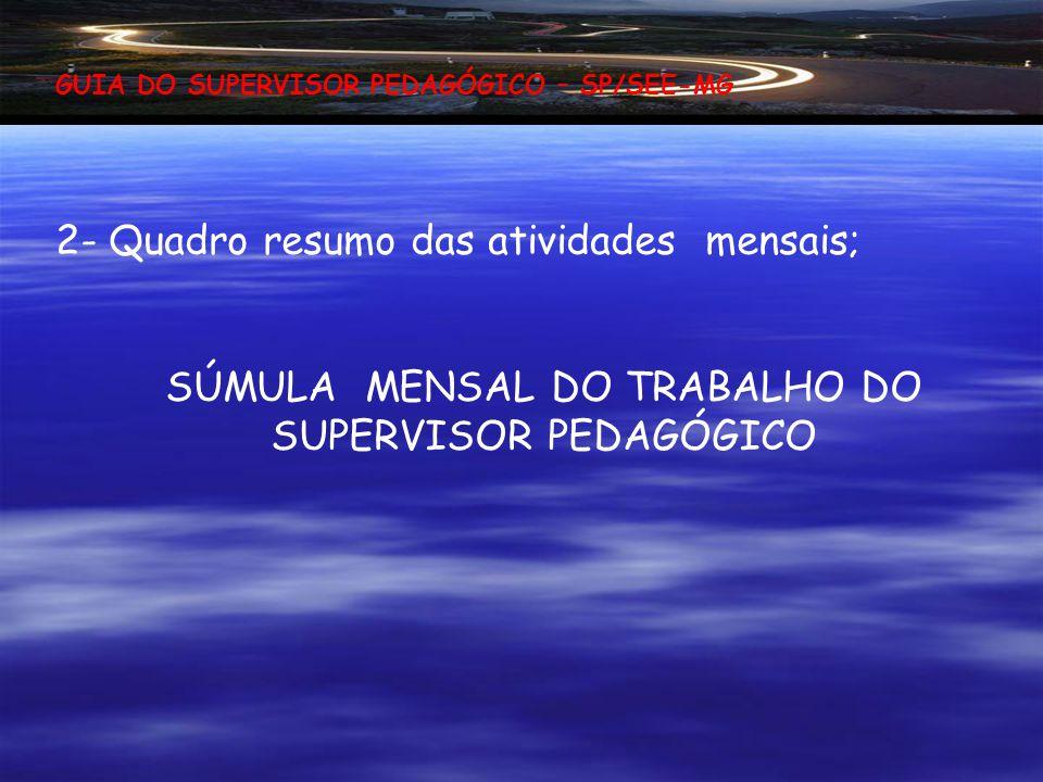 SÚMULA MENSAL DO TRABALHO DO SUPERVISOR PEDAGÓGICO