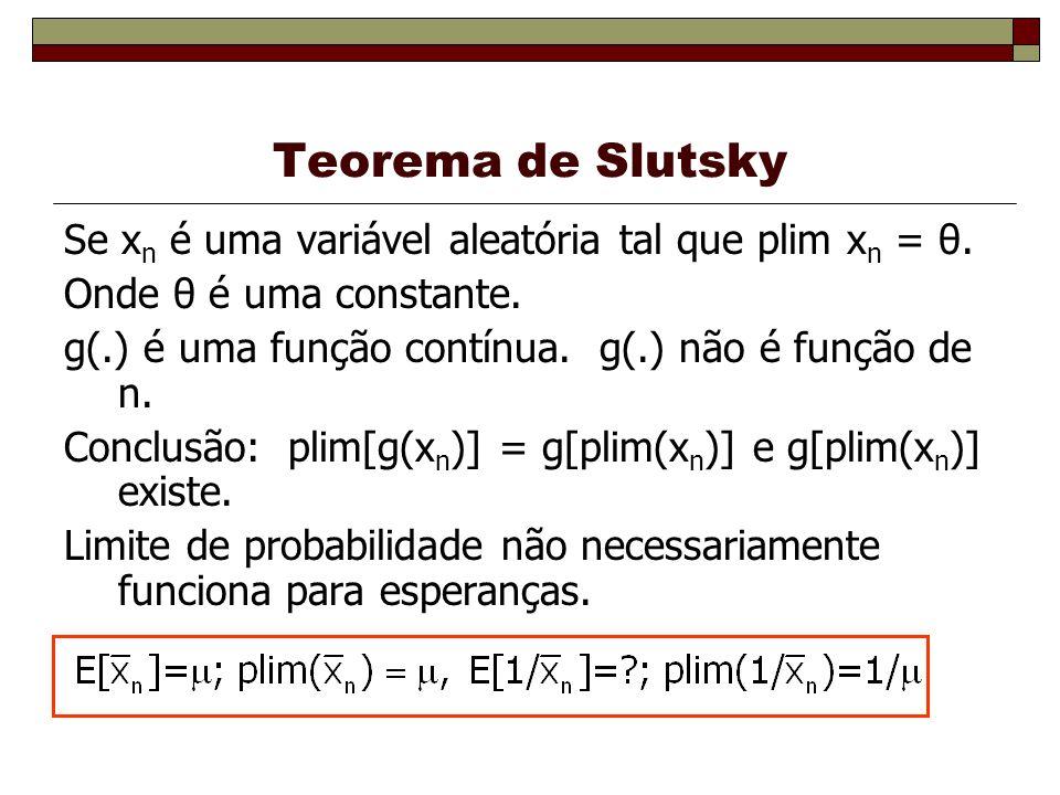 Teorema de Slutsky Se xn é uma variável aleatória tal que plim xn = θ.