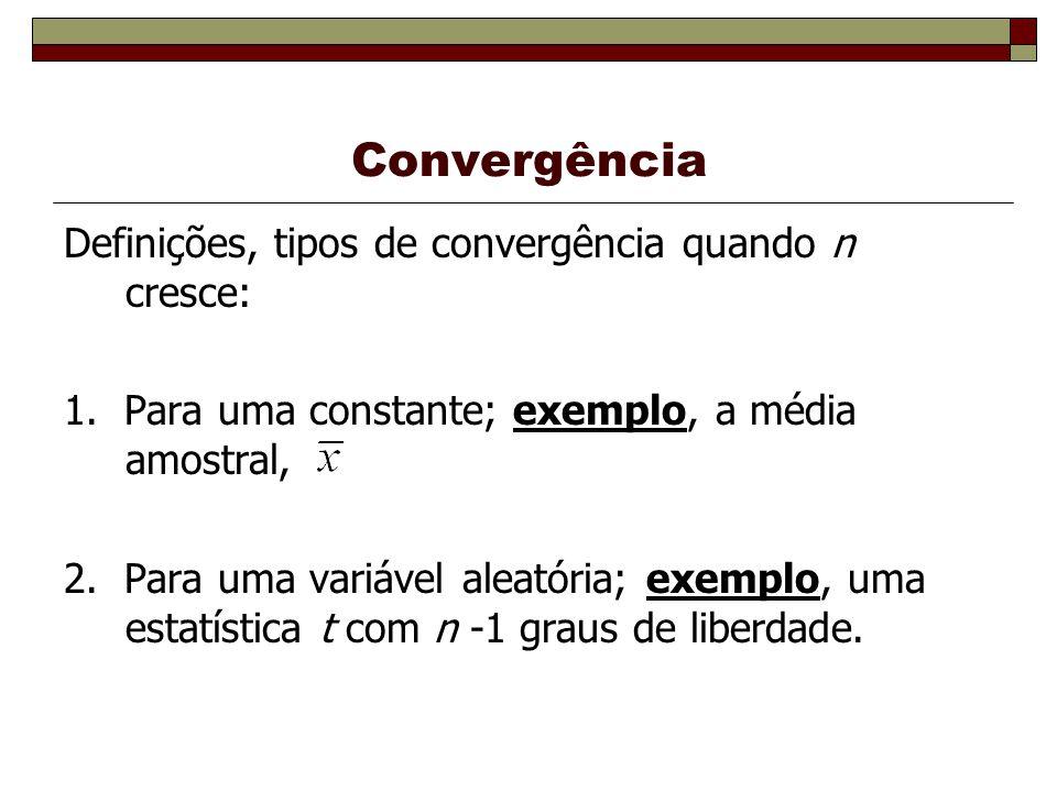 Convergência Definições, tipos de convergência quando n cresce: