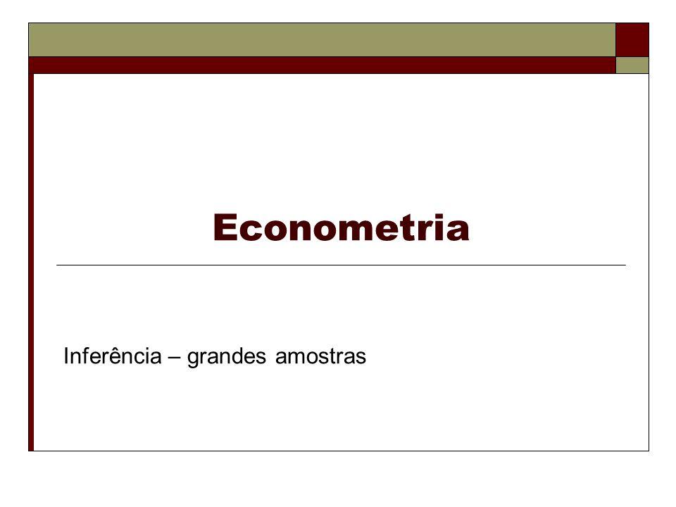 Econometria Propriedades assintóticas dos estimadores MQO (continuação) Inferência – grandes amostras.